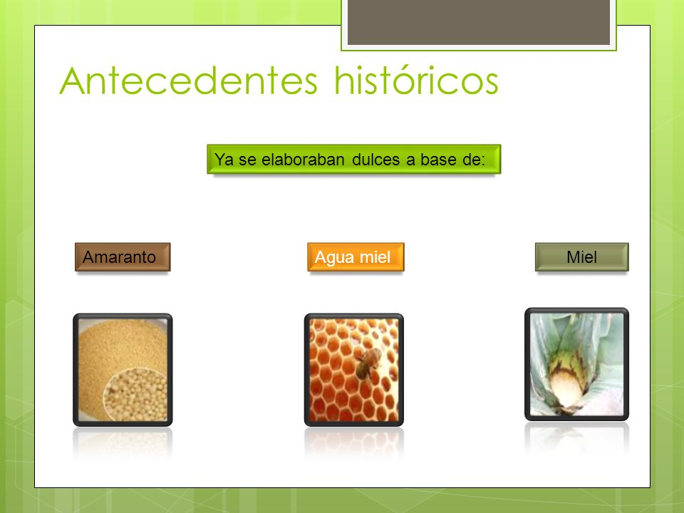 Antecedentes históricos Ya se elaboraban dulces a base de: Amaranto Miel Agua miel