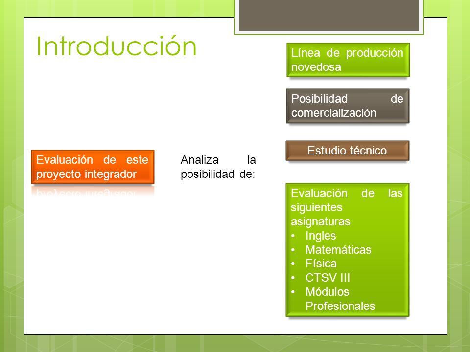 Introducción Línea de producción novedosa Posibilidad de comercialización Estudio técnico Analiza la posibilidad de: Evaluación de las siguientes asig