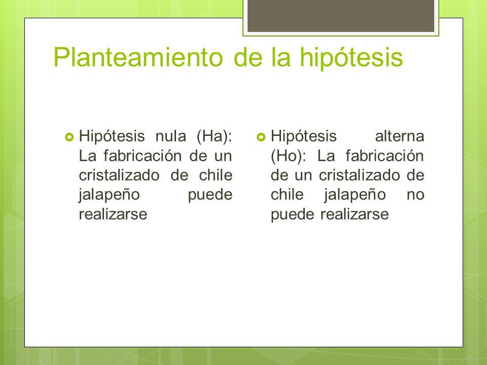 Planteamiento de la hipótesis Hipótesis nula (Ha): La fabricación de un cristalizado de chile jalapeño puede realizarse Hipótesis alterna (Ho): La fabricación de un cristalizado de chile jalapeño no puede realizarse