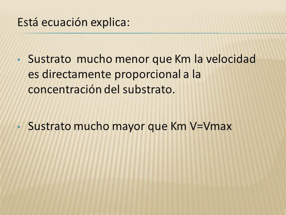 Está ecuación explica: Sustrato mucho menor que Km la velocidad es directamente proporcional a la concentración del substrato. Sustrato mucho mayor qu