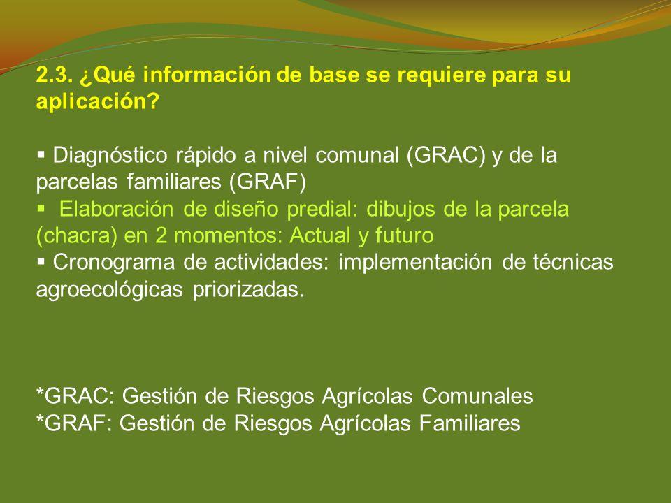 2.3. ¿Qué información de base se requiere para su aplicación? Diagnóstico rápido a nivel comunal (GRAC) y de la parcelas familiares (GRAF) Elaboración