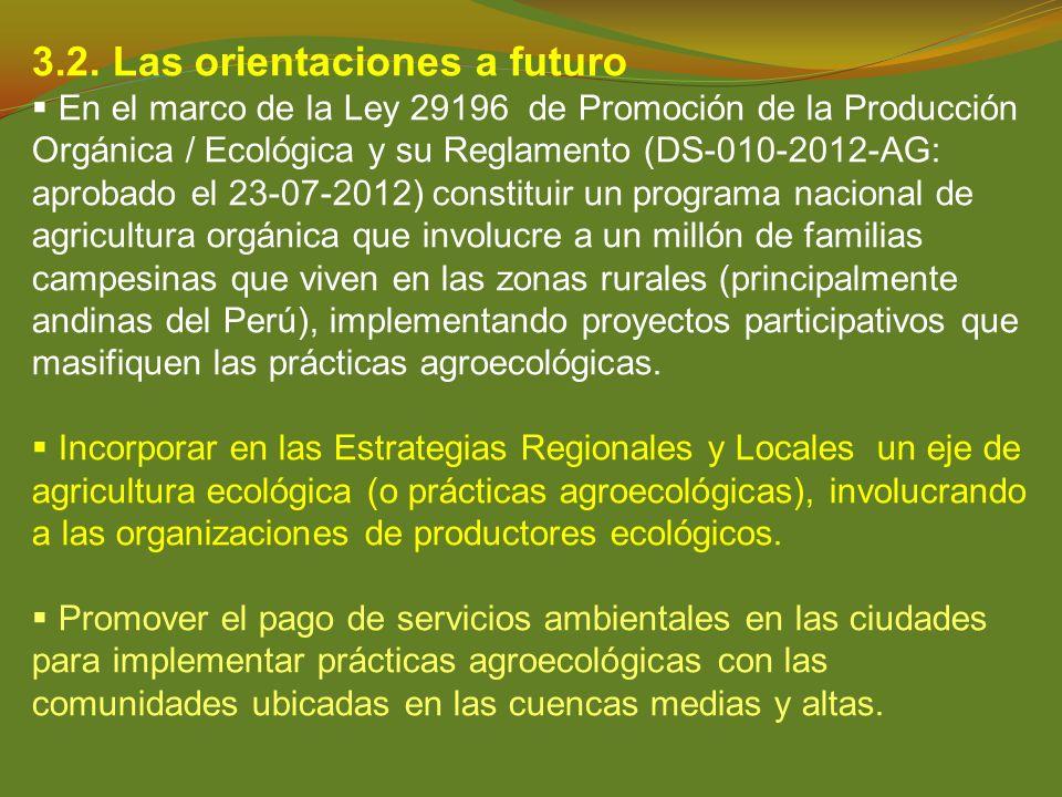 3.2. Las orientaciones a futuro En el marco de la Ley 29196 de Promoción de la Producción Orgánica / Ecológica y su Reglamento (DS-010-2012-AG: aproba