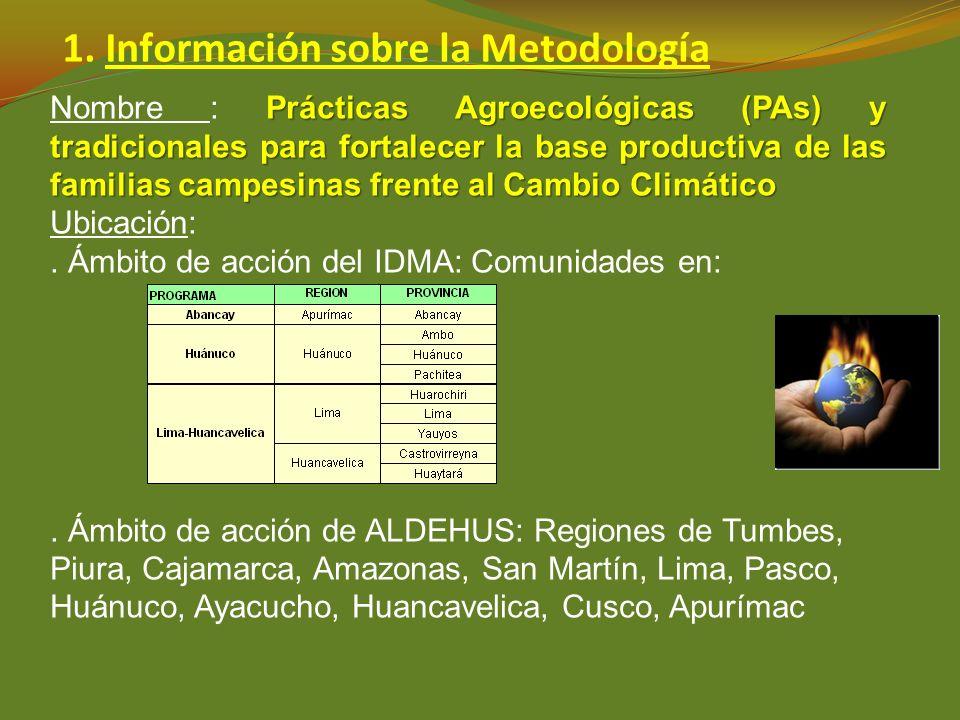 1. Información sobre la Metodología Prácticas Agroecológicas (PAs) y tradicionales para fortalecer la base productiva de las familias campesinas frent