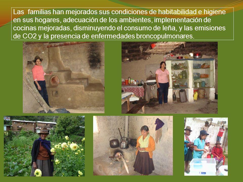 Las familias han mejorados sus condiciones de habitabilidad e higiene en sus hogares, adecuación de los ambientes, implementación de cocinas mejoradas