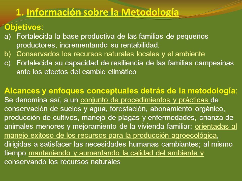 1. Información sobre la Metodología Objetivos: a)Fortalecida la base productiva de las familias de pequeños productores, incrementando su rentabilidad