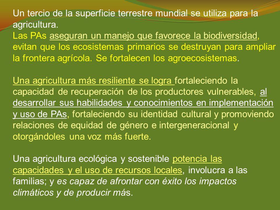 Un tercio de la superficie terrestre mundial se utiliza para la agricultura. Las PAs aseguran un manejo que favorece la biodiversidad, evitan que los