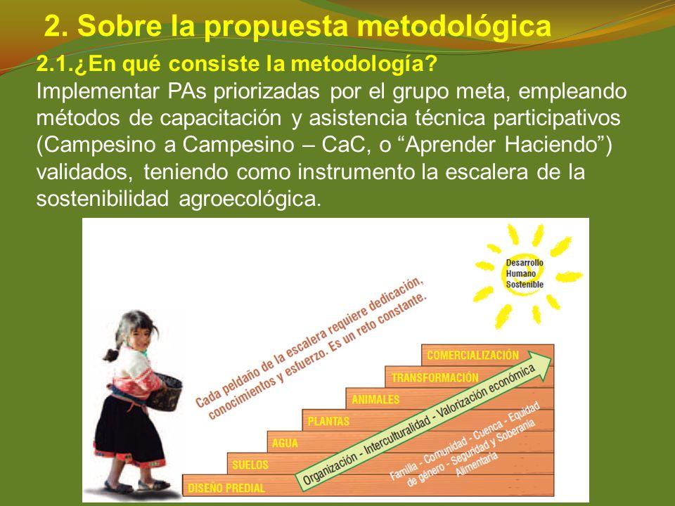 2. Sobre la propuesta metodológica 2.1.¿En qué consiste la metodología? Implementar PAs priorizadas por el grupo meta, empleando métodos de capacitaci