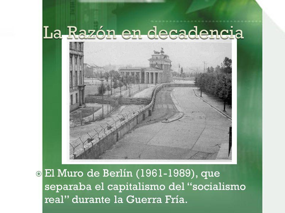 El Muro de Berlín (1961-1989), que separaba el capitalismo del socialismo real durante la Guerra Fría.
