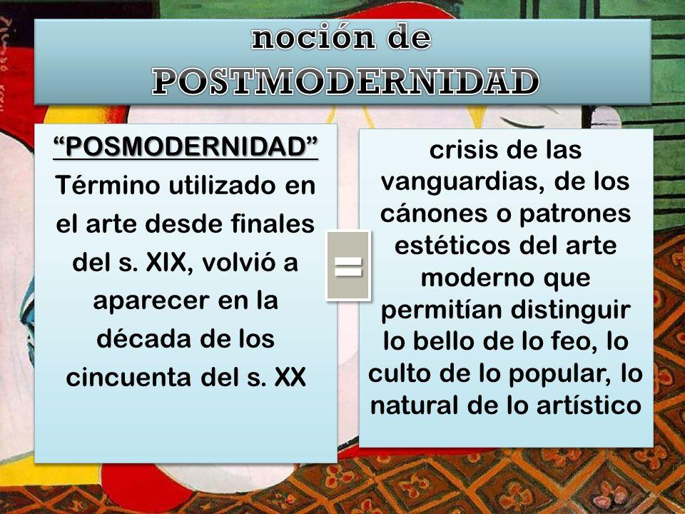 POSMODERNIDAD Término utilizado en el arte desde finales del s.