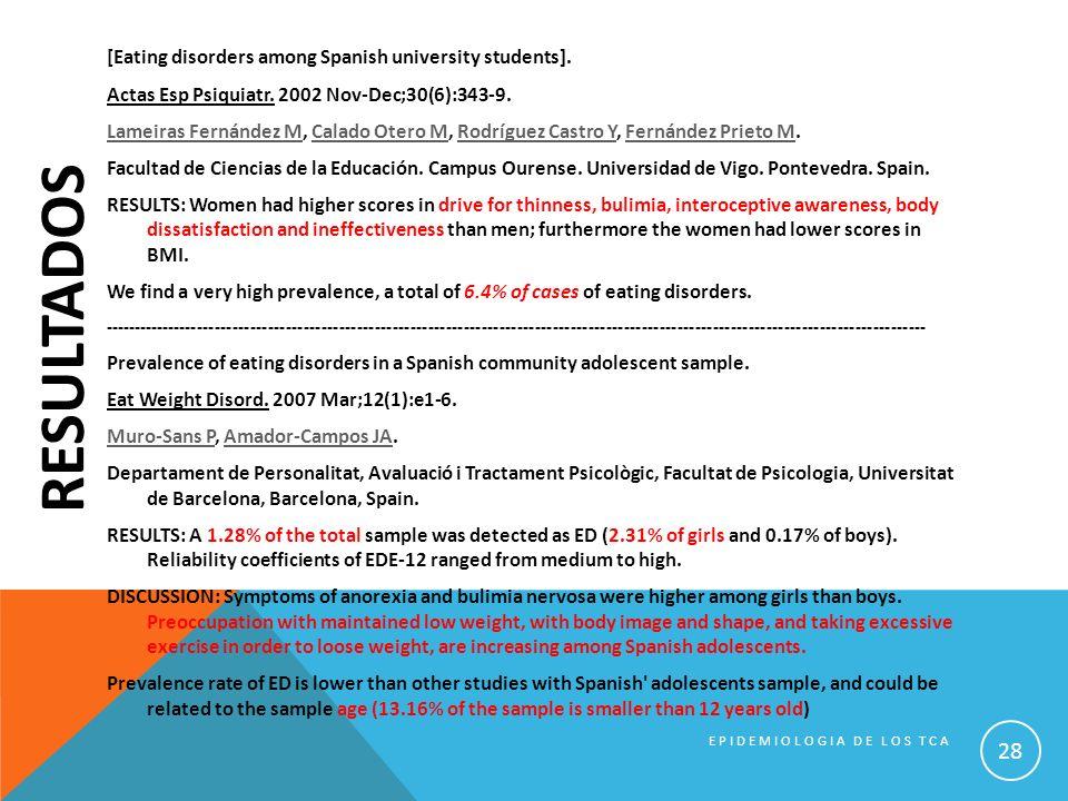 RESULTADOS [Eating disorders among Spanish university students]. Actas Esp Psiquiatr. 2002 Nov-Dec;30(6):343-9. Lameiras Fernández MLameiras Fernández