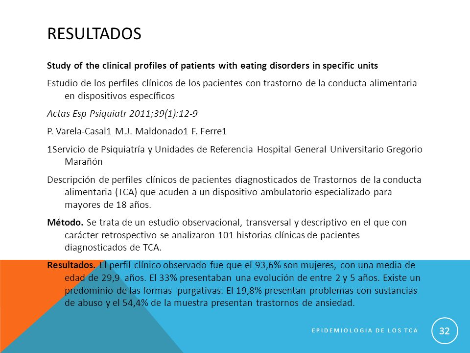 RESULTADOS Study of the clinical profiles of patients with eating disorders in specific units Estudio de los perfiles clínicos de los pacientes con tr