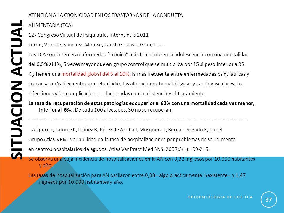 SITUACION ACTUAL ATENCIÓN A LA CRONICIDAD EN LOS TRASTORNOS DE LA CONDUCTA ALIMENTARIA (TCA) 12º Congreso Virtual de Psiquiatría. Interpsiquis 2011 Tu