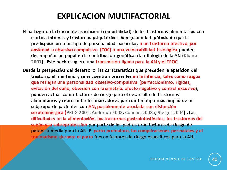 EXPLICACION MULTIFACTORIAL El hallazgo de la frecuente asociación (comorbilidad) de los trastornos alimentarios con ciertos síntomas y trastornos psiq