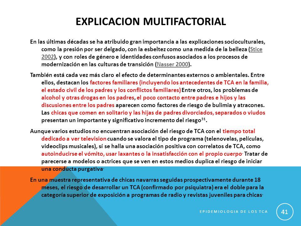 EXPLICACION MULTIFACTORIAL En las últimas décadas se ha atribuido gran importancia a las explicaciones socioculturales, como la presión por ser delgad