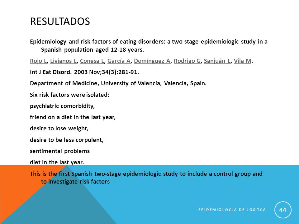 RESULTADOS Epidemiology and risk factors of eating disorders: a two-stage epidemiologic study in a Spanish population aged 12-18 years. Rojo LRojo L,