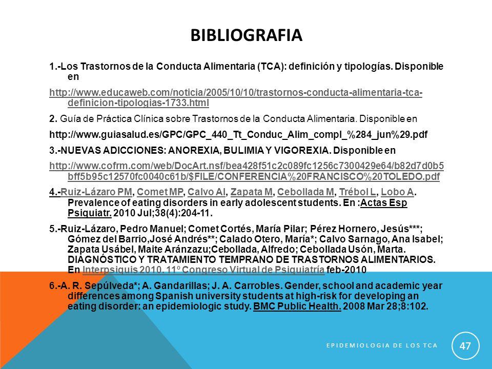BIBLIOGRAFIA 1.-Los Trastornos de la Conducta Alimentaria (TCA): definición y tipologías. Disponible en http://www.educaweb.com/noticia/2005/10/10/tra