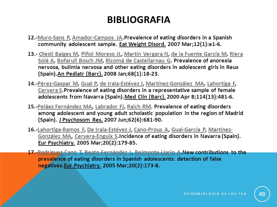 BIBLIOGRAFIA 12.-Muro-Sans P, Amador-Campos JA.Prevalence of eating disorders in a Spanish community adolescent sample. Eat Weight Disord. 2007 Mar;12