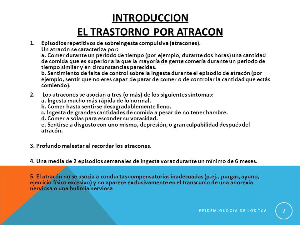 TRASTORNOS DE LA CONDUCTA ALIMENTARIA EPIDEMIOLOGIA ANALITICA FACTORES DE RIESGO EPIDEMIOLOGIA DE LOS TCA 38