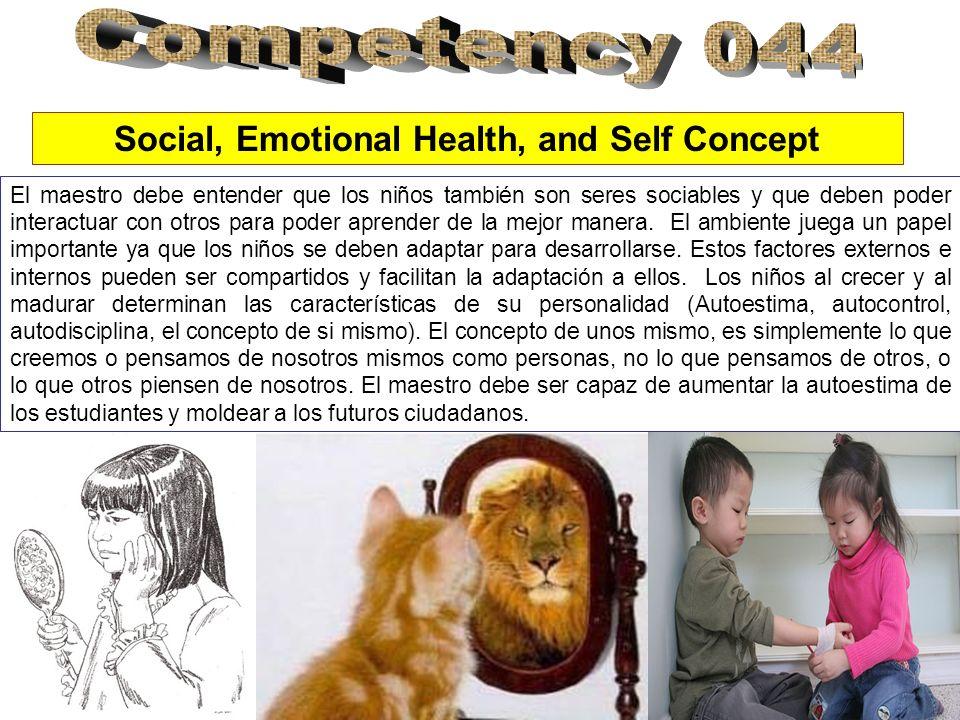 Social, Emotional Health, and Self Concept El maestro debe entender que los niños también son seres sociables y que deben poder interactuar con otros para poder aprender de la mejor manera.