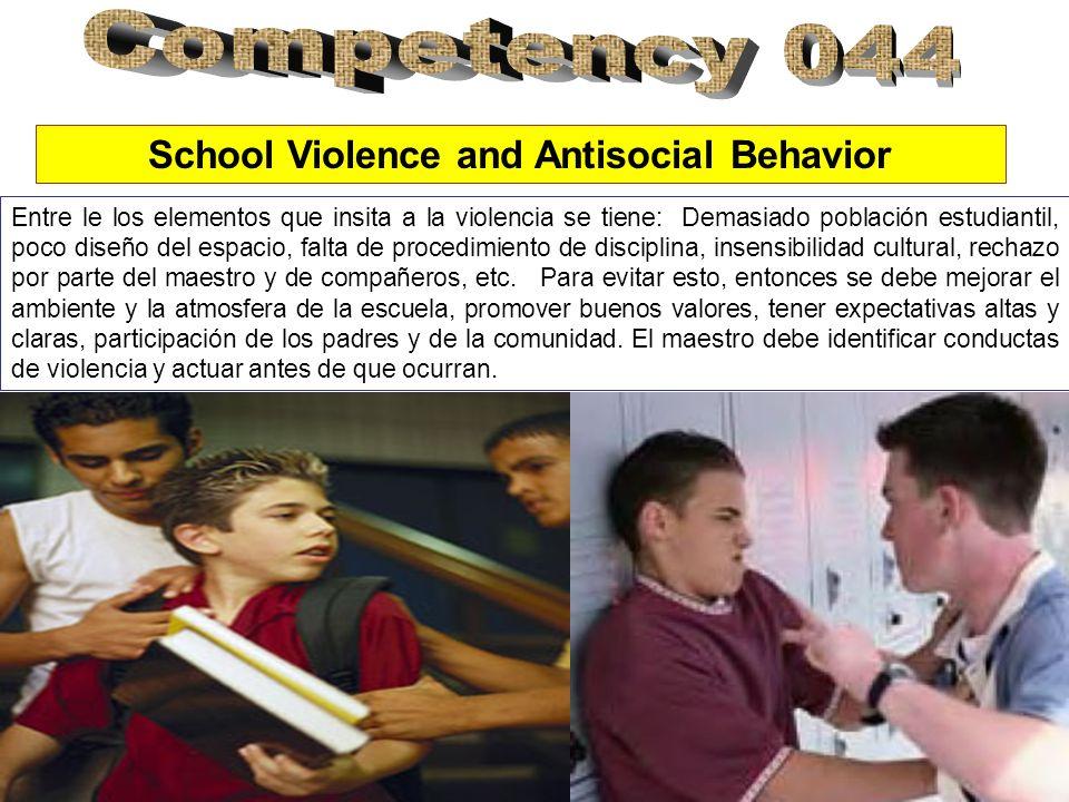 School Violence and Antisocial Behavior Entre le los elementos que insita a la violencia se tiene: Demasiado población estudiantil, poco diseño del espacio, falta de procedimiento de disciplina, insensibilidad cultural, rechazo por parte del maestro y de compañeros, etc.