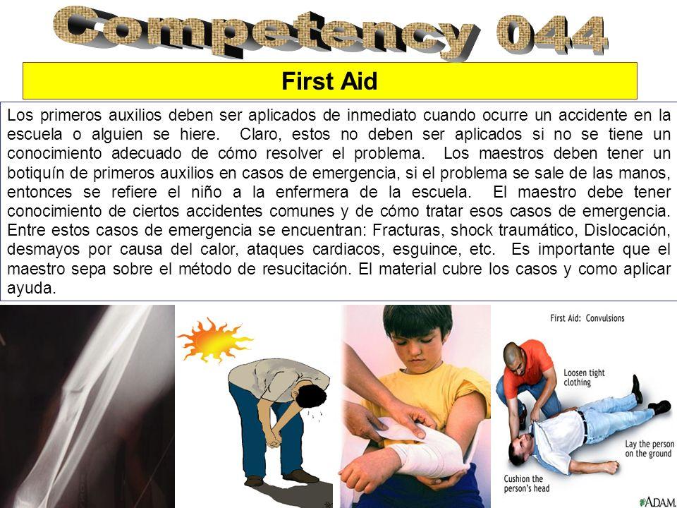 First Aid Los primeros auxilios deben ser aplicados de inmediato cuando ocurre un accidente en la escuela o alguien se hiere.