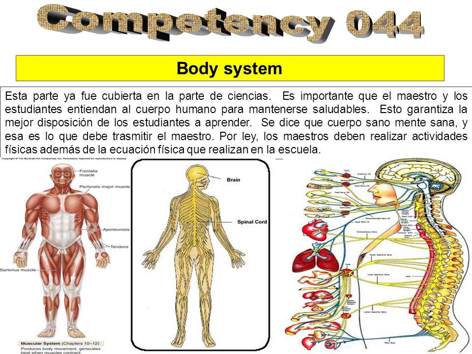 Body system Esta parte ya fue cubierta en la parte de ciencias. Es importante que el maestro y los estudiantes entiendan al cuerpo humano para mantene