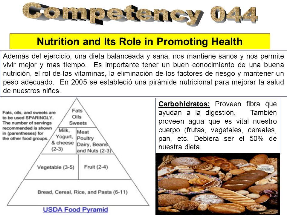Nutrition and Its Role in Promoting Health Además del ejercicio, una dieta balanceada y sana, nos mantiene sanos y nos permite vivir mejor y mas tiempo.
