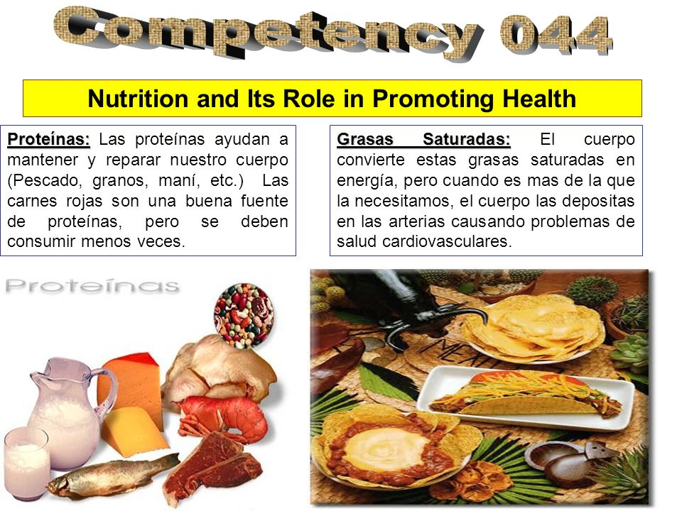 Nutrition and Its Role in Promoting Health Proteínas: Proteínas: Las proteínas ayudan a mantener y reparar nuestro cuerpo (Pescado, granos, maní, etc.) Las carnes rojas son una buena fuente de proteínas, pero se deben consumir menos veces.