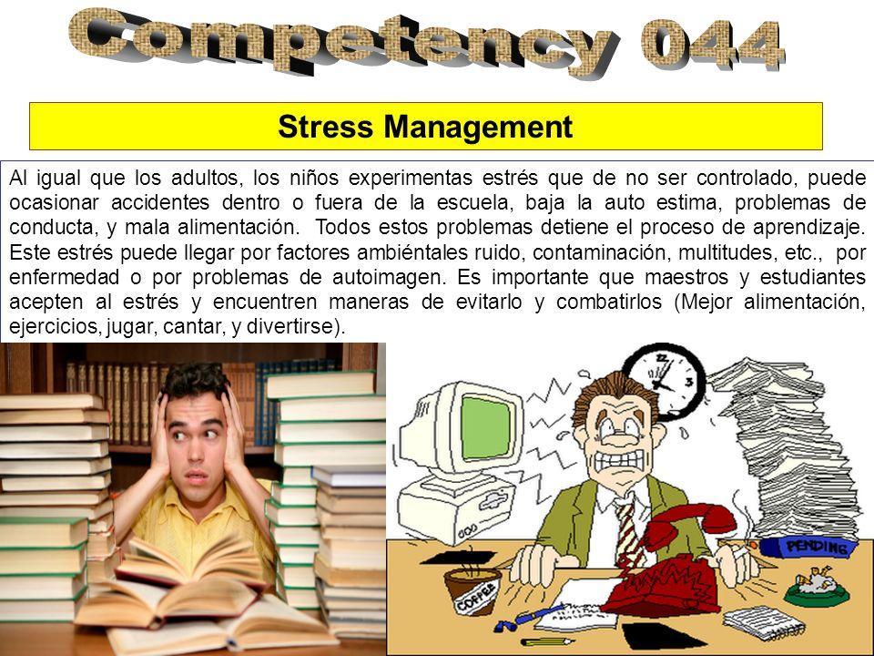 Stress Management Al igual que los adultos, los niños experimentas estrés que de no ser controlado, puede ocasionar accidentes dentro o fuera de la escuela, baja la auto estima, problemas de conducta, y mala alimentación.