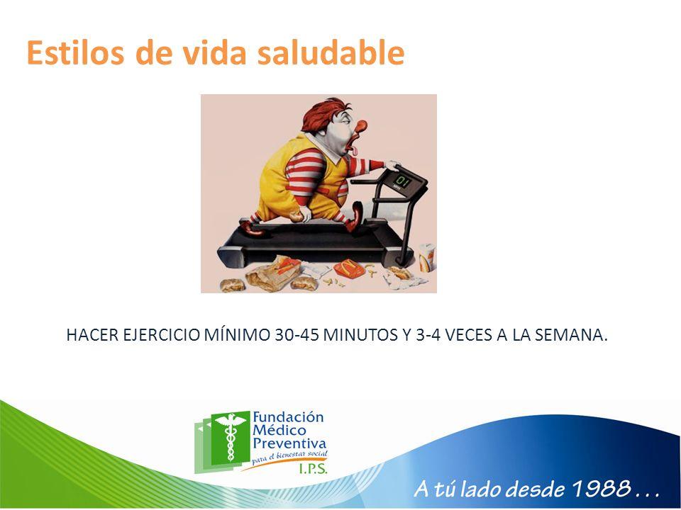 Estilos de vida saludable HACER EJERCICIO MÍNIMO 30-45 MINUTOS Y 3-4 VECES A LA SEMANA.