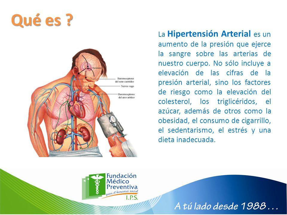 Qué es ? La Hipertensión Arterial es un aumento de la presión que ejerce la sangre sobre las arterias de nuestro cuerpo. No sólo incluye a elevación d