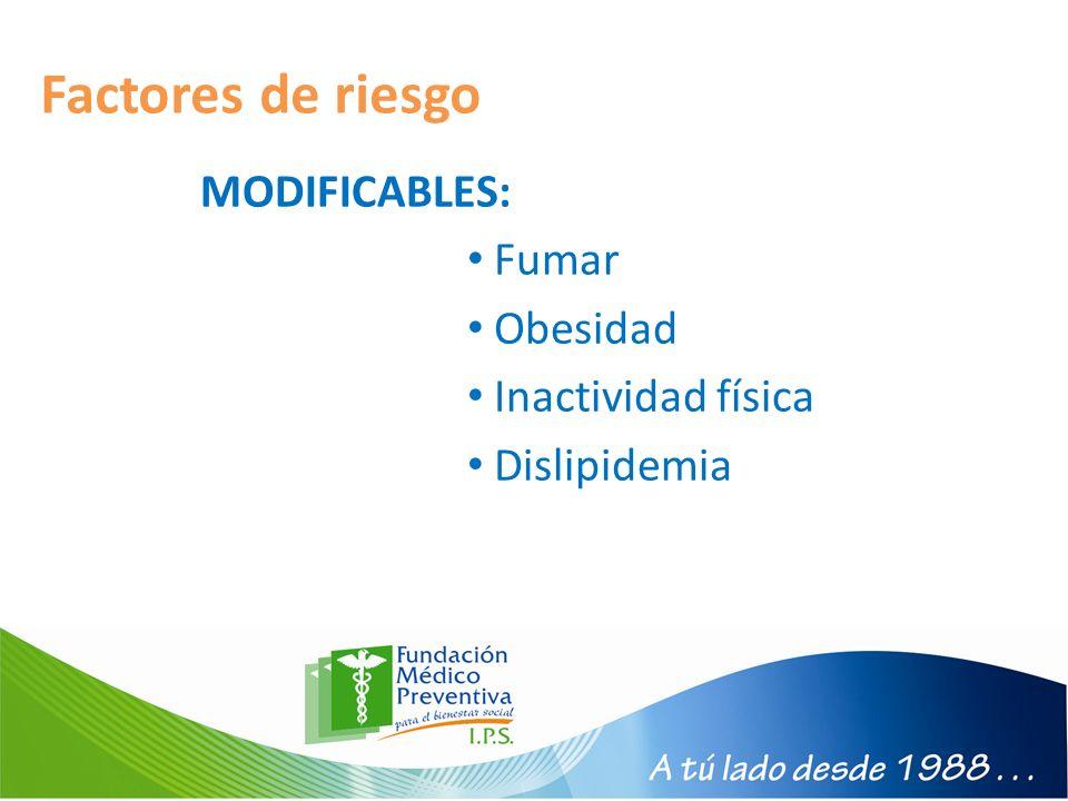 Factores de riesgo MODIFICABLES: Fumar Obesidad Inactividad física Dislipidemia