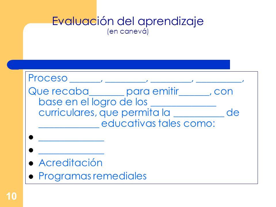 10 Evaluación del aprendizaje (en canevá) Proceso ______, ________, ________, _________, Que recaba_______ para emitir______, con base en el logro de
