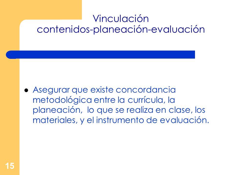 15 Vinculación contenidos-planeación-evaluación Asegurar que existe concordancia metodológica entre la currícula, la planeación, lo que se realiza en