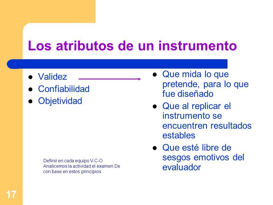 17 Los atributos de un instrumento Validez Confiabilidad Objetividad Que mida lo que pretende, para lo que fue diseñado Que al replicar el instrumento