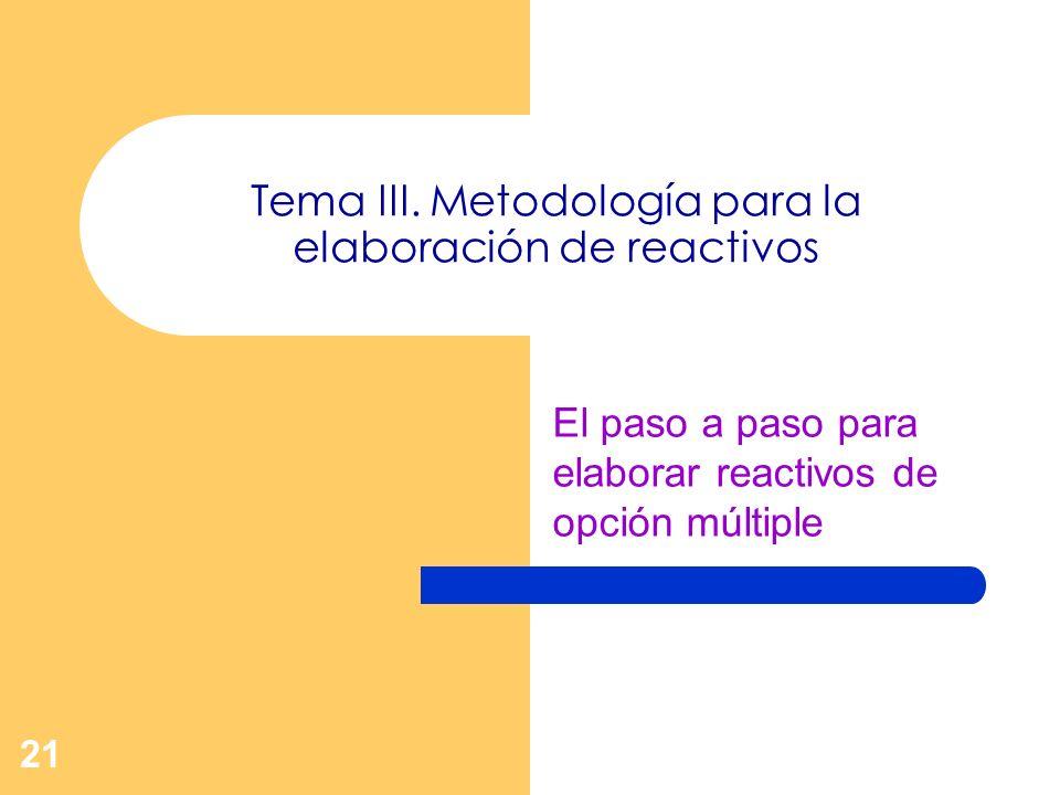 21 Tema III. Metodología para la elaboración de reactivos El paso a paso para elaborar reactivos de opción múltiple