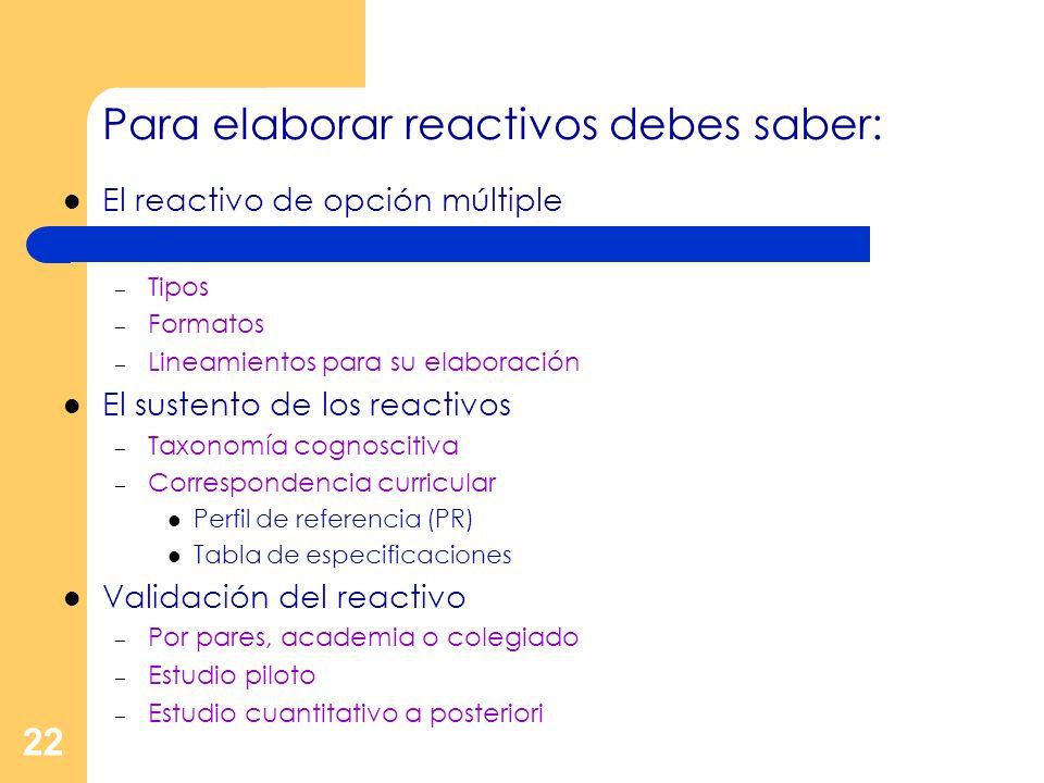 22 Para elaborar reactivos debes saber: El reactivo de opción múltiple – Tipos – Formatos – Lineamientos para su elaboración El sustento de los reacti
