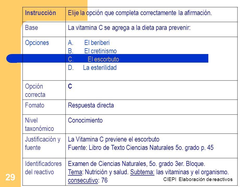 CIEPI Elaboración de reactivos 29 Instrucción Elije la opción que completa correctamente la afirmación. BaseLa vitamina C se agrega a la dieta para pr