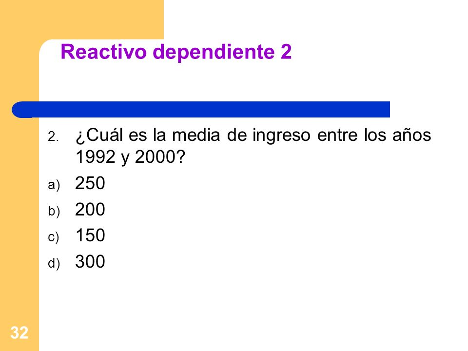32 Reactivo dependiente 2 2. ¿Cuál es la media de ingreso entre los años 1992 y 2000? a) 250 b) 200 c) 150 d) 300