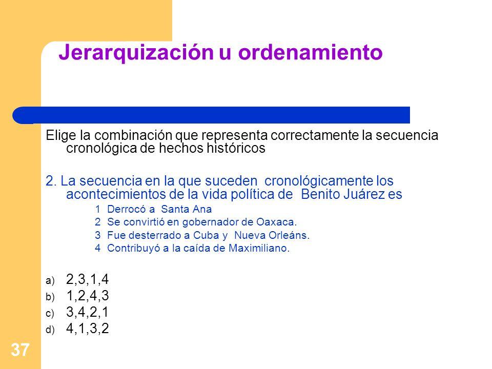 37 Jerarquización u ordenamiento Elige la combinación que representa correctamente la secuencia cronológica de hechos históricos 2. La secuencia en la