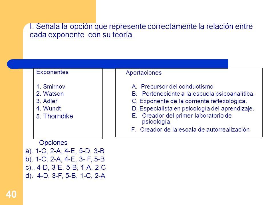 40 I. Señala la opción que represente correctamente la relación entre cada exponente con su teoría. Exponentes 1. Smirnov 2. Watson 3. Adler 4. Wundt