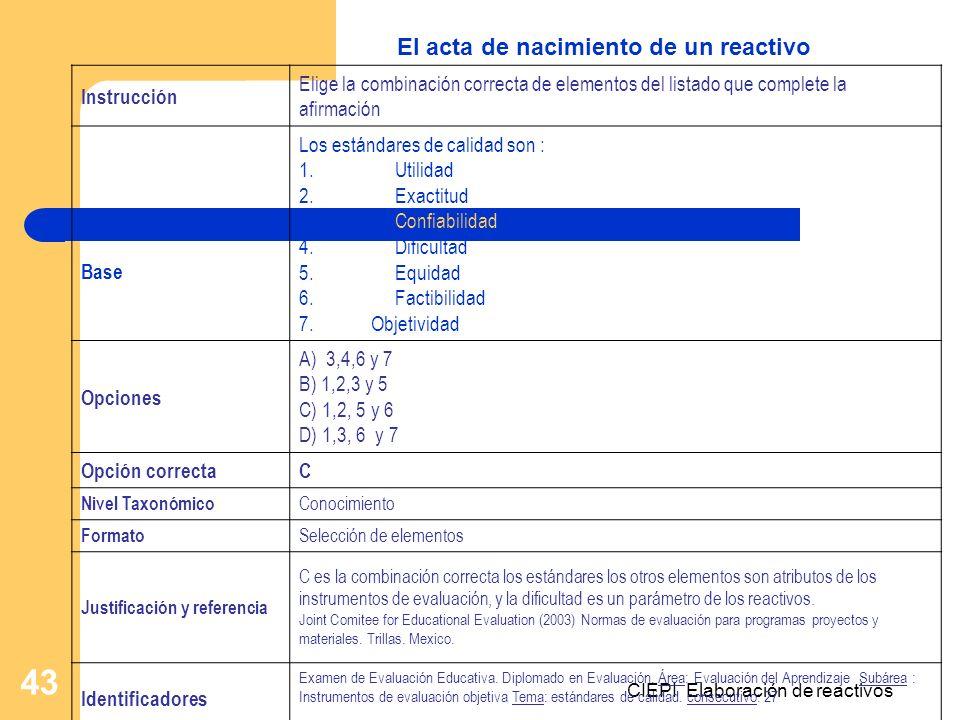 CIEPI Elaboración de reactivos 43 Instrucción Elige la combinación correcta de elementos del listado que complete la afirmación Base Los estándares de