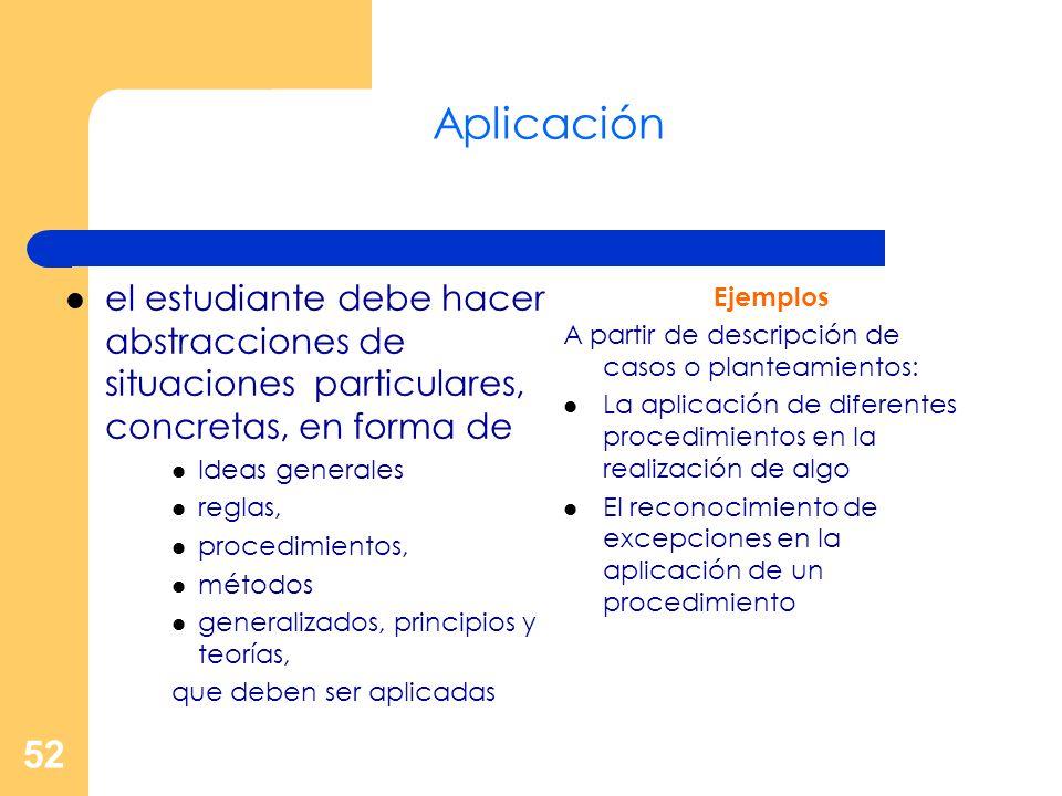52 Aplicación el estudiante debe hacer abstracciones de situaciones particulares, concretas, en forma de Ideas generales reglas, procedimientos, métod