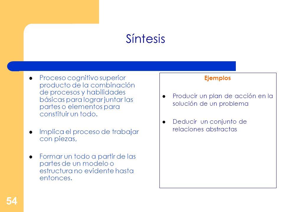 54 Síntesis Proceso cognitivo superior producto de la combinación de procesos y habilidades básicas para lograr juntar las partes o elementos para con