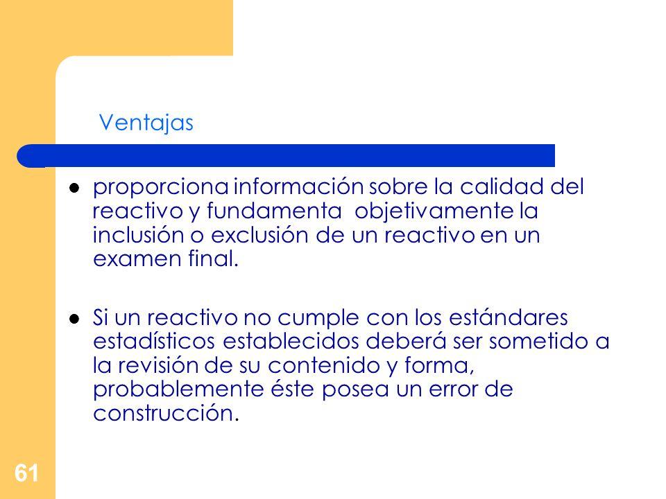 61 Ventajas proporciona información sobre la calidad del reactivo y fundamenta objetivamente la inclusión o exclusión de un reactivo en un examen fina