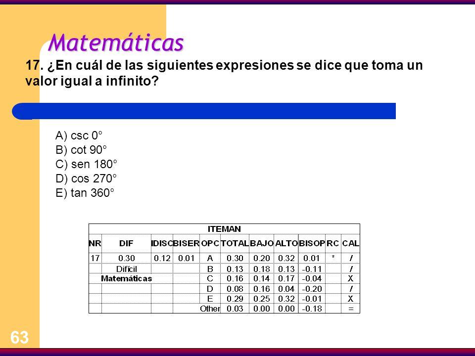 63 Matemáticas 17. ¿En cuál de las siguientes expresiones se dice que toma un valor igual a infinito? A) csc 0° B) cot 90° C) sen 180° D) cos 270° E)