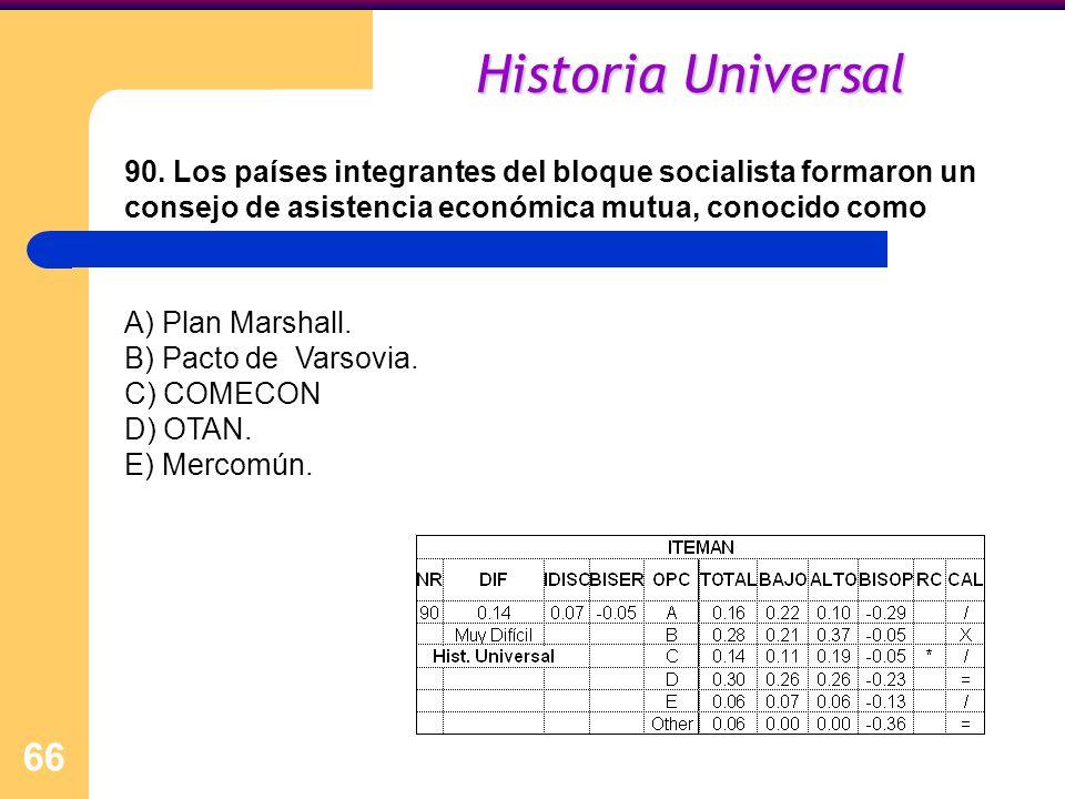 66 Historia Universal 90. Los países integrantes del bloque socialista formaron un consejo de asistencia económica mutua, conocido como A) Plan Marsha