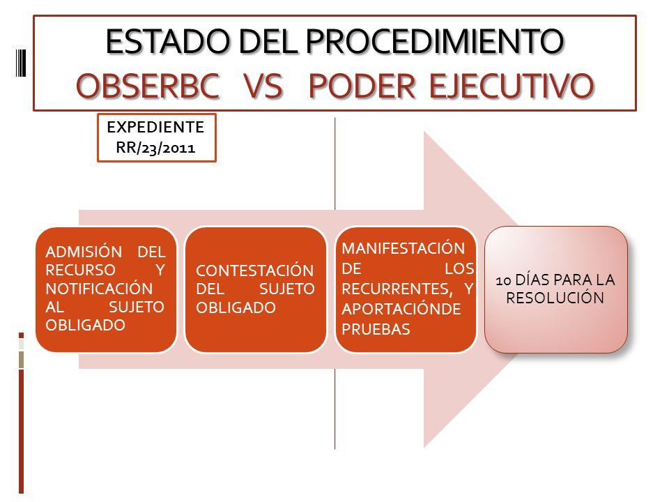 ESTADO DEL PROCEDIMIENTO OBSERBC VS PODER EJECUTIVO ADMISIÓN DEL RECURSO Y NOTIFICACIÓN AL SUJETO OBLIGADO CONTESTACIÓN DEL SUJETO OBLIGADO 10 DÍAS PARA LA RESOLUCIÓN MANIFESTACIÓN DE LOS RECURRENTES, Y APORTACIÓNDE PRUEBAS EXPEDIENTE RR/23/2011