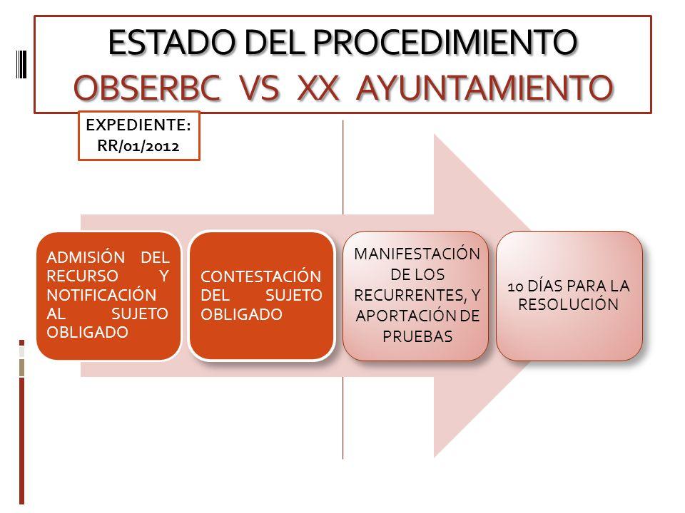 ESTADO DEL PROCEDIMIENTO OBSERBC VS XX AYUNTAMIENTO ADMISIÓN DEL RECURSO Y NOTIFICACIÓN AL SUJETO OBLIGADO CONTESTACIÓN DEL SUJETO OBLIGADO 10 DÍAS PARA LA RESOLUCIÓN MANIFESTACIÓN DE LOS RECURRENTES, Y APORTACIÓN DE PRUEBAS EXPEDIENTE: RR/01/2012