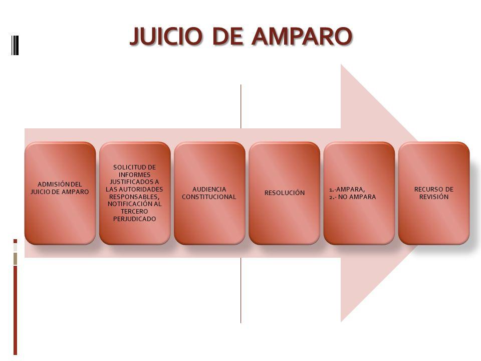 JUICIO DE AMPARO ADMISIÓN DEL JUICIO DE AMPARO SOLICITUD DE INFORMES JUSTIFICADOS A LAS AUTORIDADES RESPONSABLES, NOTIFICACIÓN AL TERCERO PERJUDICADO AUDIENCIA CONSTITUCIONAL RESOLUCIÓN 1.-AMPARA, 2.- NO AMPARA RECURSO DE REVISIÓN